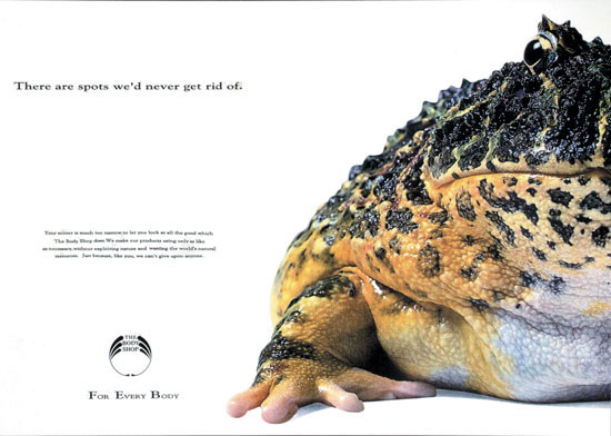 Campagna per The Body Shop realizzata dagli studenti dei Corsi di Art Direction e Copywriting e premiata con una Commendation al D&AD del 1993.