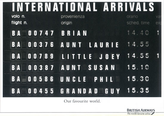 Campagna per British Airways realizzata dagli studenti di Accademia nella'ambito del D&AD 1995.