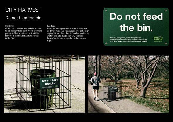 Do not feed the bin, progetto di ambient media per the City Harvest di Federica Tamburi, miglior studentessa di Pubblicità nell'ambito de I Giovani Leoni.