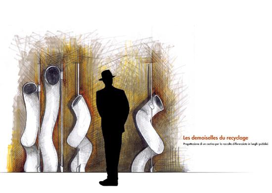 Progettazione di un cestino per la raccolta differenziata nei luoghi pubblici. Autore Pasquale Volpe, Corso Graphic Design.