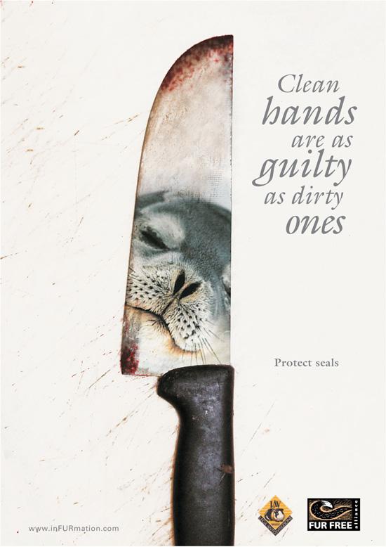 Campagna contro l'uccisione delle foche. Primo Premio Desin Against Fur. Corso Graphic Design - Maria Rodes De Castro.