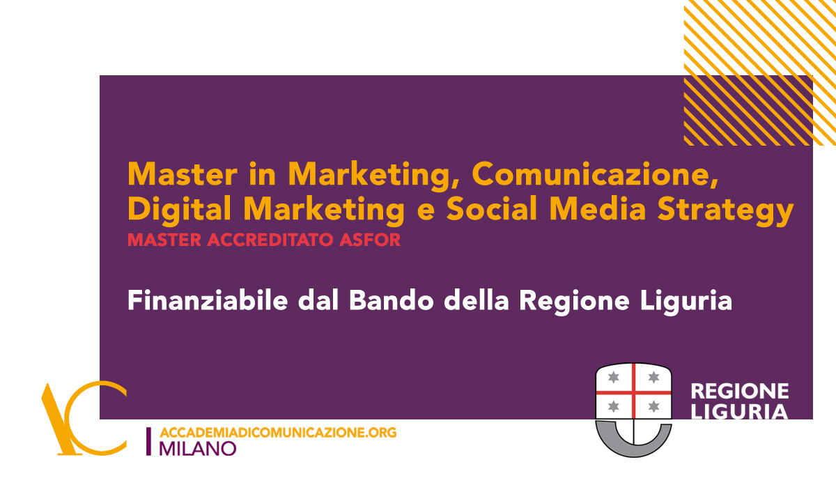 Finanziamento Regione Liguria per il Master in Marketing accreditato ASFOR